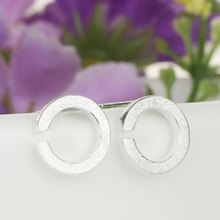 Gap Circle 925 Sterling Silver Earring Plant Scrub Geometric Stud Earings for Womn Girls Lady Gift