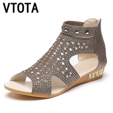 VTOTA Sandals Women Sandalia Feminina 2017 Casual Rome Summer Shoes Fashion Rivet Gladiator Sandals Women Sandalia Mujer B67(China)