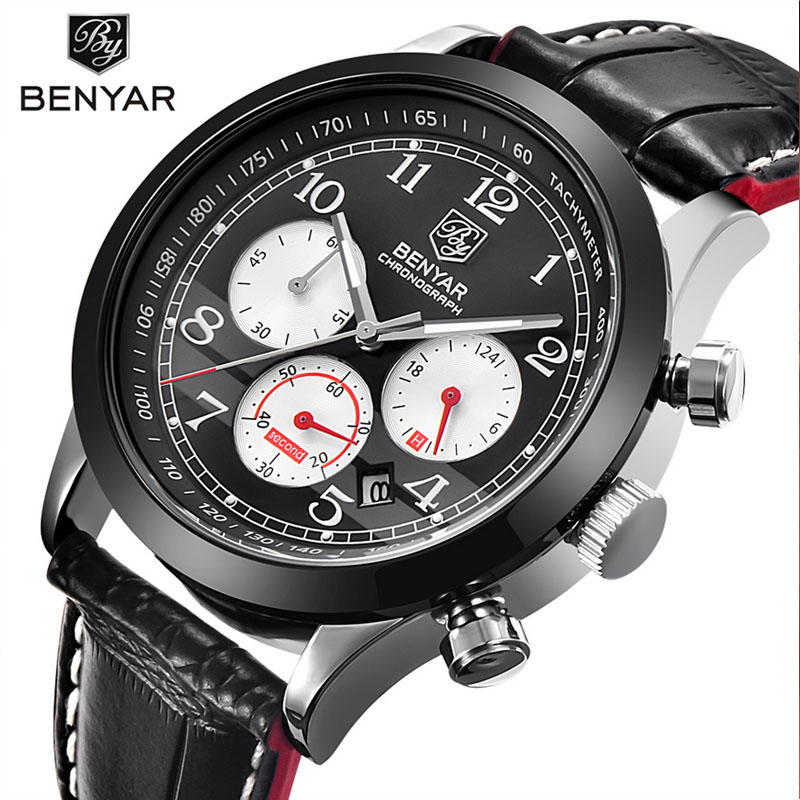 2017 BENYAR Fashion Chronograph Sport Mens Watches Top Brand Luxury Quartz Watch All Small Eyes Working High Quality With Box<br>