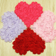 240 pcs/lot , 4.75''  chiffon rose heart  , headbands shabby chiffon flowers
