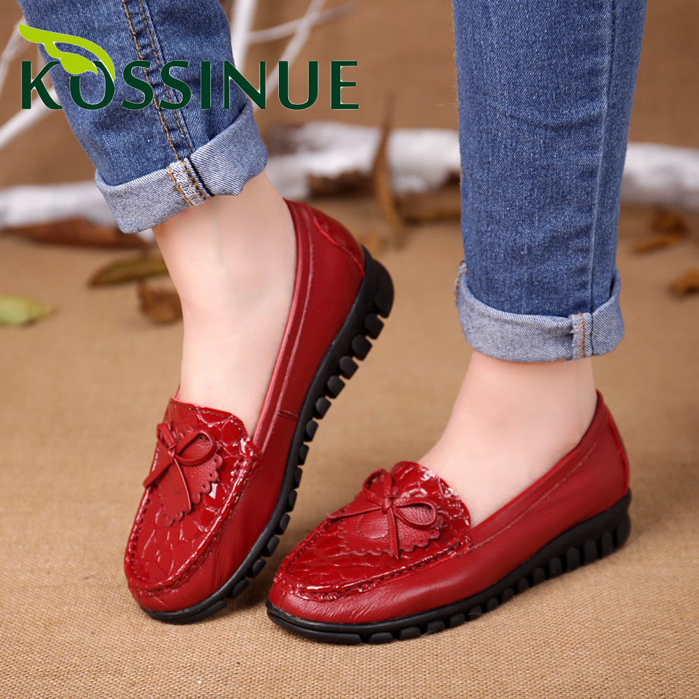 Spring And Autumn Genuine Leather Shoes Fashion Bowtie Shoes Women Flat Shoes Soft Casual Flat Shoes Women Flats Plus Size 34-41<br><br>Aliexpress