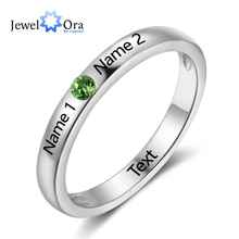 New 925 Sterling Silver Birthstone Ring Engrave Name Engagement Rings Round Rings Engagement Gift For Women JewelOra RI102737