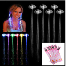 Rave Halloween Decoration 6 Pcs Light-up Fiber Led Hair Color wig Lights Rave for halloween christmas Party led Accessories(China)