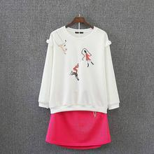 C51 Spring Casual Women Sets 2XL Plus Size Clothes Scuba knitting fabric Cartoon embroidery Sweatshirt + Skirt 2 piece Suit 1904(China)