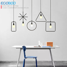EGOBOO Retro Vintage Art Deco Pendant Light Lamp Loft Creative Style at Living Room Black Metal Cord Pendant Lighting Fixtures