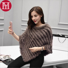 Winter Ladies' Genuine 100% Real Knitted Rabbit Fur Poncho Women Fur Pashmina Wrap Female Party Pullover Good Quality Fur Scarf(China)