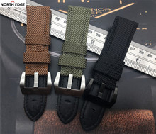 22mm 24mm 26mm Fabric Vintage Black Canvas Nylon leather Watchband Strap band Bracelet pin Buckle Clasp For Panerai/Pam watch(China)