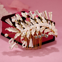 Gold Color Hair Accessory Handmade Rhinestone Crystal Beaded Hair Comb With Vine Leaf Hair Jewelry Head Piece For Wedding Bride