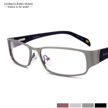 Classic Eyewear Black/Brown/Grey/Silver Four colors Full-rim Stainless Steel Eyeglasses Optical Frames With Spring Hinge SM4015