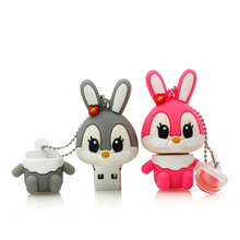 HOT USB Flash Drive 64G Pendrive 32G Flash Drive16G 8GB 4G New Cute Funny Bunny Model Pendrive Usb2.0 Memory Stick Free Shipping