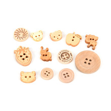 100pc/lot 2 Holes 4 Holes Mixed Types Wooden Buttons Painted Wooden Blended Buttons For Clothing And home Textiles(China)