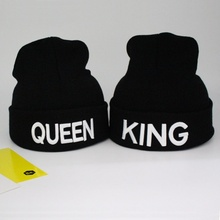 Fashion Soft Comfortable KING and Queen Letter Cap Embroidery Couple Knitted Warm Hat Popular(China)