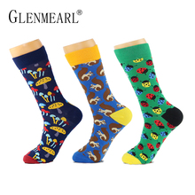3 pairs/lot Cotton Men Socks Quality Brand Fall Colorful Pattern Coolmax Funny Happy Dress Wedding Male Crew Socks Plus Size(China)