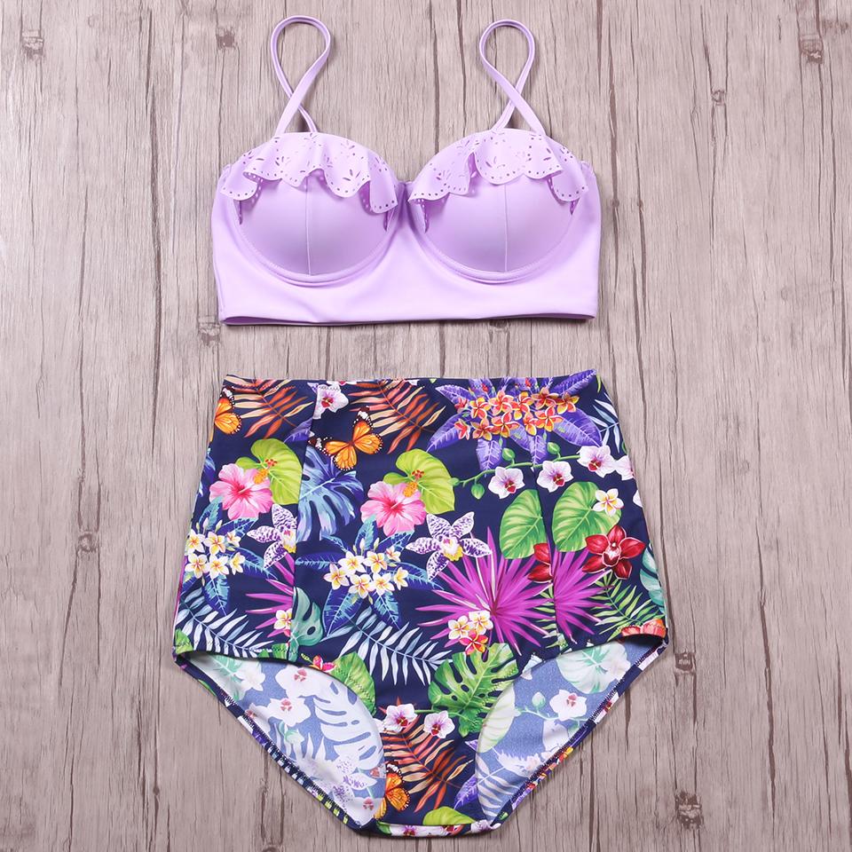 TQSKK 19 New Bikinis Women Swimsuit High Waist Bathing Suit Plus Size Swimwear Push Up Bikini Set Vintage Retro Beach Wear XXL 9