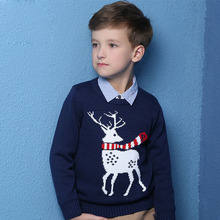 2017 Autumn Winter New Kids Cartoon Christmas deer Sweater Coat Children Clothing Baby Cotton thick wool top Boys Girls Pullover(China)