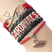 Custom Cardinals Bracelet NFL Football Team Name Bangle - Infinity Love Red with Black Suede Leather Braid
