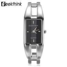 GEEKTHINK Unique Design Luxury Brand Quartz Watch Women rectangle Stainless steel band female clock Bracelet Lady Casual watch(China)