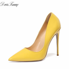 DorisFanny 2017 thin High Heels Women Pumps 12cm genuine patent leather candy color Sexy Wedding Shoes Party yellow blue green