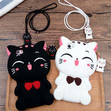 Cute Silicon 3D Cat Bow Case For iphone 5S Case For iphone 5 SE 6 6S Plus Cartoon Animal Lovely Rubber Phone Cases Back Cover(China)