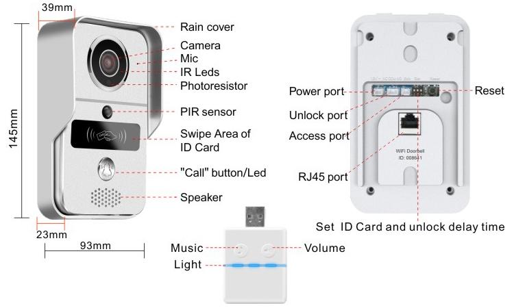Jeruan Smart 720p Silver Wifi Video Door Phone Intercom