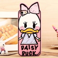 SALE!!! 2017 3D Lovely Graffiti Cartoon Duck Minnie Mickey chip Goofy soft Rubber phone case cover for iPhone 5 5S 5G SE cheap
