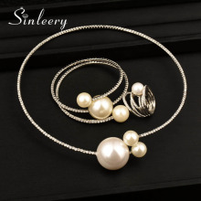 SINLEERY Luxury Big White Ball Choker Necklace Bangle Rings Set Yellow/White Gold Color Rhinestone Jewelry Set For Women  TZ021