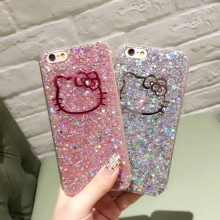 Hot Luxury Hello Kitty Gold Bling Glitter Soft TPU Phone Cases For iPhone 6 6s 7 Plus Shine Glitter Back Cases
