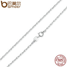 BAMOER Free Shipping 925 Sterling Silver Adjustable Basic Chain Necklace Lobster Clasp Simple Fashion Necklace Jewelry SCA002-45(China)