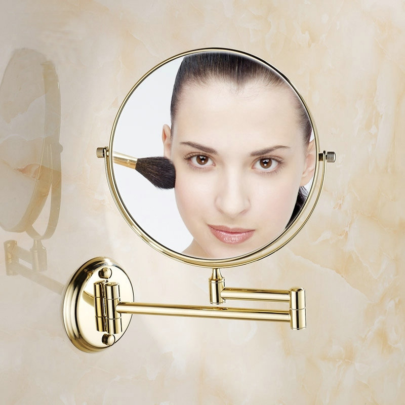 8 Inch Golden Polished Brass Bathroom Cosmetic Mirror Makeup Mirror Double Slide Magnifying Bath Mirrors Wall Mounted<br>