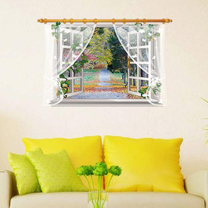 HTB1pi9.b8jTBKNjSZFNxh5sFXXaj - 3D Window View Nature Landscape Wall Sticker  For Living Room