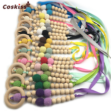 10pcs Baby Teether Necklace Safe Bright Ribbon Teether Necklace Organic Natural Wooden Crochet Bead Mom Kids Wooden Teether