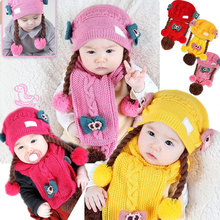 2 PCS Baby Princess Girl Hat +Scarf Fashion Infant Cute Baby Girls Spring Autumn Winter Beanie Hats Caps With Wigs Headwear Hair(China)