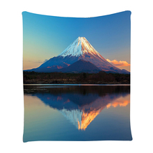 Boutique DODA Mount Fuji and Lake Picture Sunset Print Bedroom Living Room Dorm Accessories Wall Hanging Tapestry Blue White