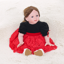 60cm Silicon Baby Doll Baby Girl Doll with Long Brown Hair Clothes Wig Soft Silicone Vinyl Baby Doll Lifelike Girl Gifts Toy(China)