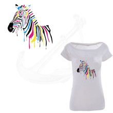 Popular Color zebra stickers 26*26.6cm iron on patch printed T-shirt Sweater thermal transfer paper Patch for clothing