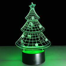 Christmas Tree 3D Night Lamp 7 Colorful Table Lamp Luminaria  Red Green Blue Yellow Cyan Purple White Color Changing Lampara
