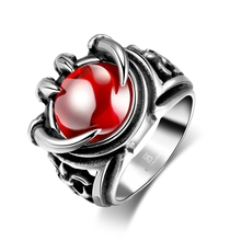 Red Gem Ring Cool Hip Hop Jewelry Inlaid Big Stone Dragon Claw Silver Plated Jewelry Men's 316L Stainless Steel Ring with Zircon