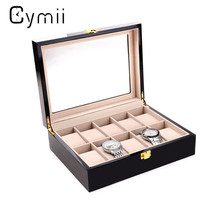 Cymii 10 Grids Watch Display Box Red Wooden Watch Box Transparent Skylight Watch Storage Box With Lock Watch Case Box