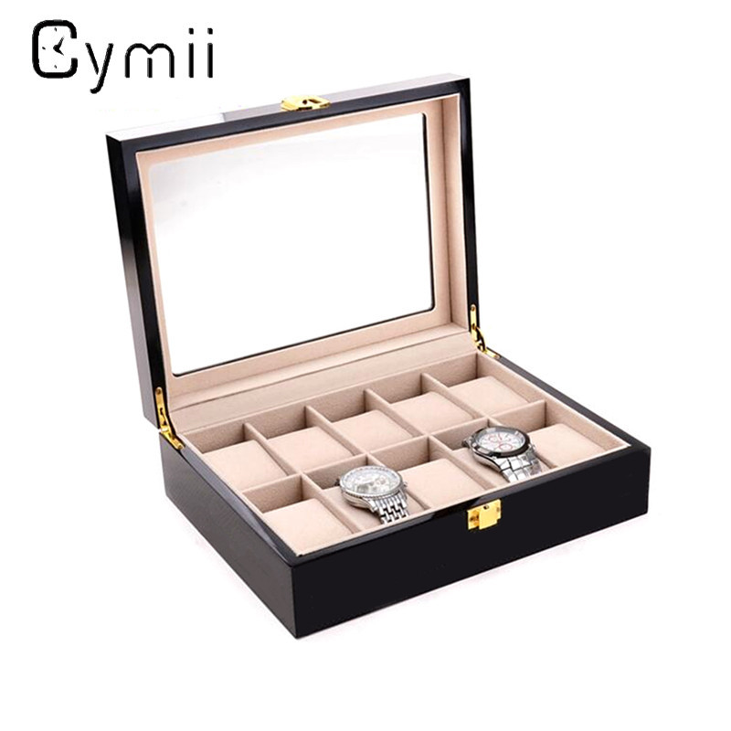Cymii 10 Grids Watch Display Box Red Wooden Watch Box Transparent Skylight Watch Storage Box With Lock Watch Case Box<br>
