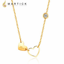 Martick 316L Stainless Steel Gold-color Double Heart AAA CZ Pendant Necklace Link Chain Necklace Fashion Jewelry For Women P99
