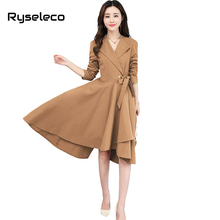 Ryseleco Women Spring Fashion Asymmetrical Dresses Office Lady Casual Work Wear Pure Color Wrap Irregular High Low Swing Vestido(China)