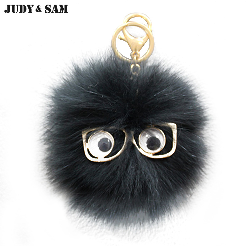 Brand Lovely Glasses Monster White Black Real Fox Fur Pompom Key Bag Charm Fur Accessories 2 Colors Options Sell Round Pom Pom(China (Mainland))