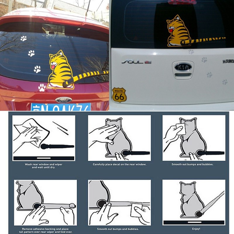 Funny Creative Cartoon Cat Decoration Moving Tail Stickers