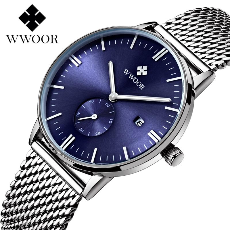 Luxury Top Brand WWOOR Men Watch Stainless Steel Waterproof Mens Watches Male Clock Quartz Watch Wristwatches relogio masculino<br><br>Aliexpress