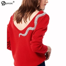 JOYDU Sexy V Back Runway Designer Knit Sweater 2017 New Winter Pullover Snake Diamond Beading Novelty Jumper pull sueter mujer(China)