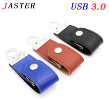 JASTER usb3.0 fashion leather usb flash drive fur key chains pendriver 8gb 32gb commercial memory stick 4gb 16gb gift gifts(China)