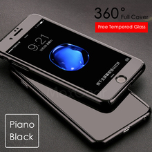 Luxury Piano Black 360 Degree Full Body Protection Cover Case For iPhone 7 6 6S Plus 5 5S SE Case Capa coque With Tempered Glass