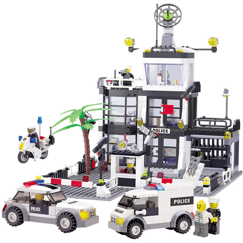 6725 631PCS Police Station Building Blocks Bricks Educational Toys Compatible famous brand City Truck Car Kids Toys<br>