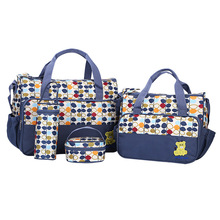 4PCS/Set Canvas Maternity Bag Multifunction Nursing Nappy Bags Fashion Large Capacity Diaper Bag Set Tote Baby Bags for Mom