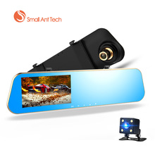 Full HD 1080P Car Dvrs Rear View Mirror With Dual Lens Camera Night Vision Dash Cam dvr Digital Video Recorder with 8 G Card